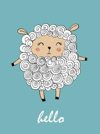 cute sheep - lamb. Hand writing - Hello. Ilustracja