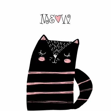 Black cat with pink stripes and a heart.