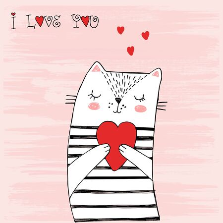 White cat with black stripes and a heart 向量圖像