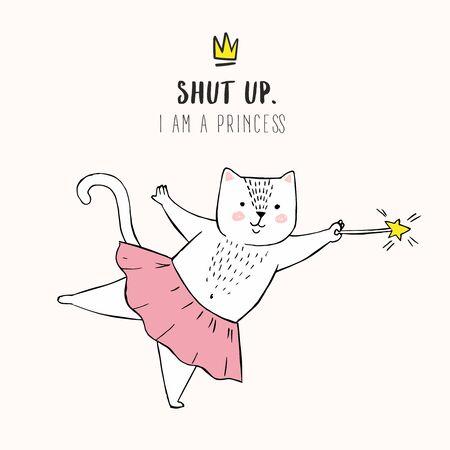 cute white cartoon cat ballet tutu