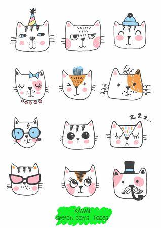 big kawaii set of doodle cute sweet cats Stock Illustratie