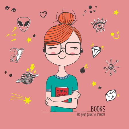 Girl holding book with glases