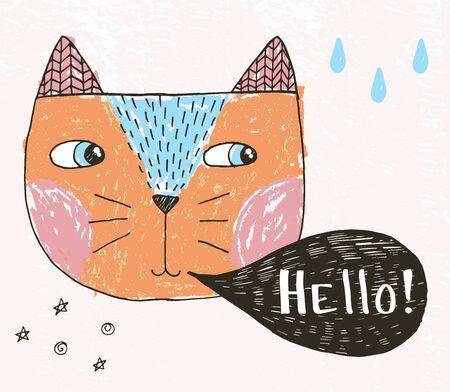 Sketch doodle cat with comics cloud Ilustracja