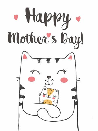 Vector illustration of mother cat with of cute little kitten, hand drawn greeting card with lettering happy mothers day, cat family, mummy with sleeping baby Illustration