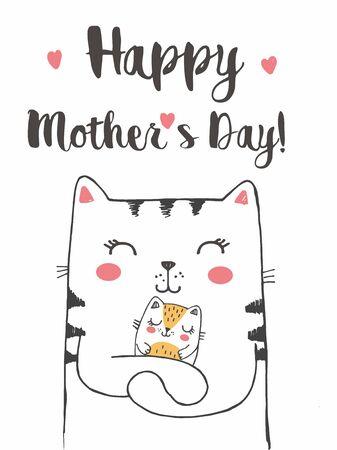Vektor-Illustration der Mutterkatze mit niedlichen kleinen Kätzchen, handgezeichnete Grußkarte mit Schriftzug glücklicher Muttertag, Katzenfamilie, Mama mit schlafendem Baby Vektorgrafik