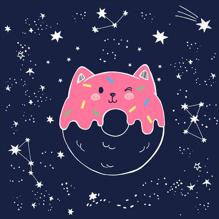 Vector cute hand drawn illustration of glazed cat shaped sweet donut with pink jam, marzipan topping, kawaii face in anime styl, outer space with falling stars, star dust and constellations