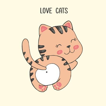Vector illustration of cute hand drawn cat, back view, with a heart-shaped stain, striped tail, card with lettering love cats, animal protection, cartoon brown kawaii kitten drawn in anime style