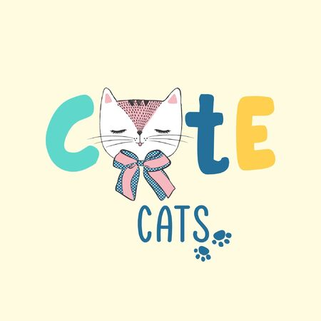 Vector hand drawn illustration ith cat, logo for pet shop, internet store, web site with goods for animals, can be used as fashion print for t shirt, advertising, cartoon card with lettering cute pets Ilustracja
