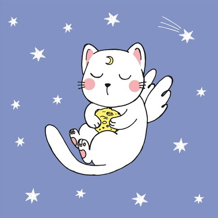 Vector illustration of hand drawn kawaii cartoon sketch cat in anime style with angel wings, planet in his hands, moon tattoo, flying among falling stars in the night sky, good night, sweet dreams