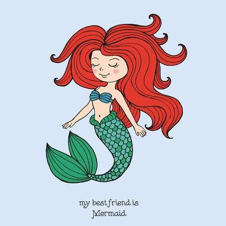 Vector hand drawn fairy tale illustration of beautiful redhead nixie with green fish tail, shaggy long red hair, cute card with lettering my best friend is mermaid, print for t shirt for girl or woman