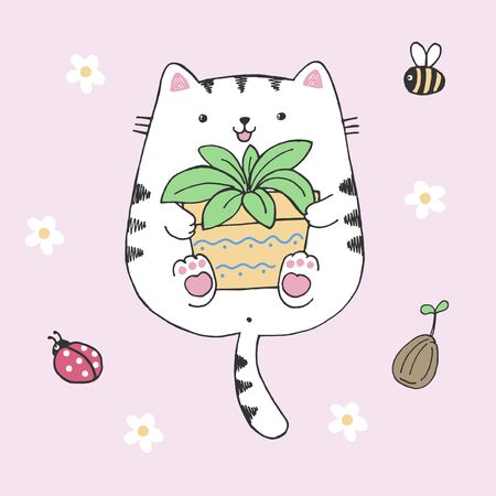 Vector hand drawn illustration of cute white cat with flowerpot in his hands, flowers, insects, kawaii kitten drawn in anime style hugging a pot with home plant isolated on pink background