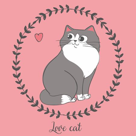 Vector illustration of hand drawn cat inside round floral frame with heart, lettering love cat, cartoon character can be used as fashion print for t shirt drawn with crayons