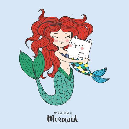 Vector hand drawn fairy tale illustration of beautiful redhead nixie with her fish cat, lettering my best friend is mermaid, print for t shirt for girl or woman, free hugs, mother and baby