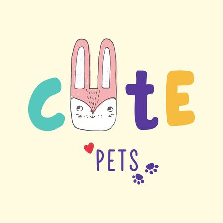 Vector hand drawn illustration, logo for pet shop, internet store, web site with goods for animals, can be used as fashion print for t shirt, advertising, cartoon card with lettering cute pets