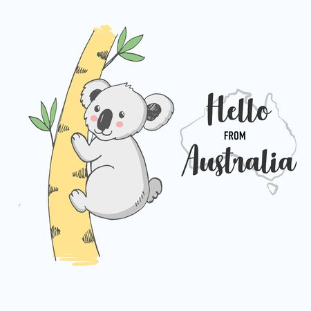 Vector illustration of hand drawn baby koala sitting on bamboo, cute card with lettering hello from Australia, contour silhouette of country