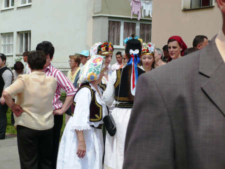 people and national costume  and holiday of easter