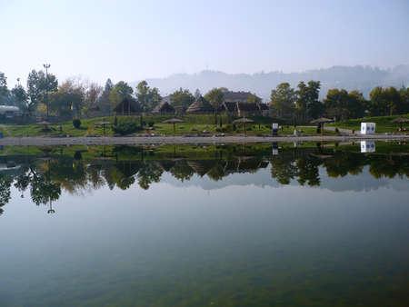 tuzla: pannonian lake in tuzla on this lake and waterfalls Stock Photo