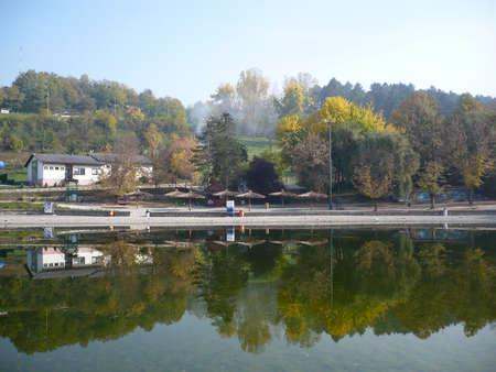 tuzla: pannonian lake in tuzla on this lake and waterfalls Editorial