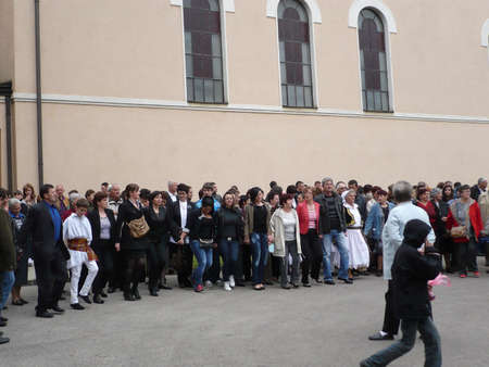 holiday of Easter On the occacion of religious holiday Easter is lot of people had gathered outside the church in national costume