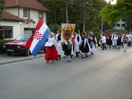 defile: 6 international folklore festival Lukavac 22.06.2012.this defile folklre group in street Lukavac place Editorial