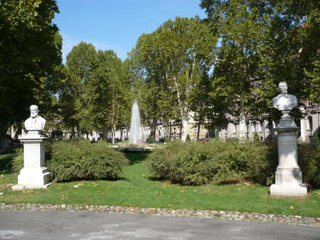 this is park Zrinjevac in Zagreb,Croatia,september 2012 and  beautiful and has fountaine and statues of famous personalitres,has benches that can be a little rest Editorial