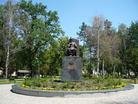 tuzla: this statues king Tvrtko I kotromanic is  the bosnian king and this Tuzla in the central park city park in Tuzla 2013,summer