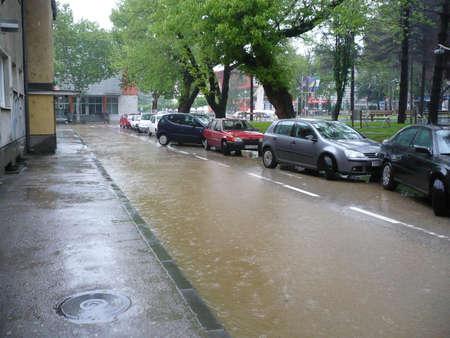 tuzla: flooded the streets of the city Lukavac in Tuzla Canton,Bosnia and Herzegovina,15 may 2014