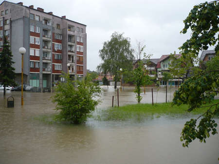 flooded the streets of the city Lukavac in Tuzla Canton,Bosnia and Herzegovina,15 may 2014