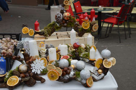 arrangment: Arrangment object  for advent .Advent is christian tradition that symbolizes the passage on the four weeks of advent in the liturgical calendar the West church