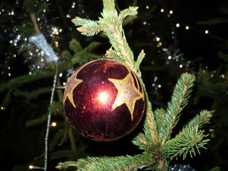 Decorative ball to decorated christmas tree for holidays Christmas  and New Year