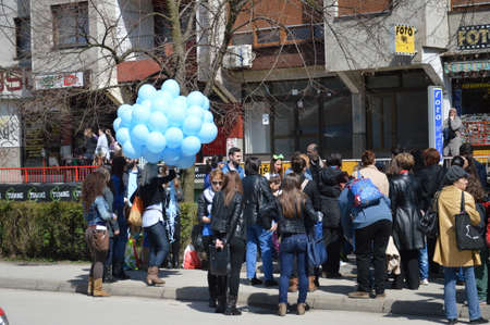 bosna and herzegovina: Day of autism characterized in city Lukavac,Bosna and Herzegovina 2 apri l2015