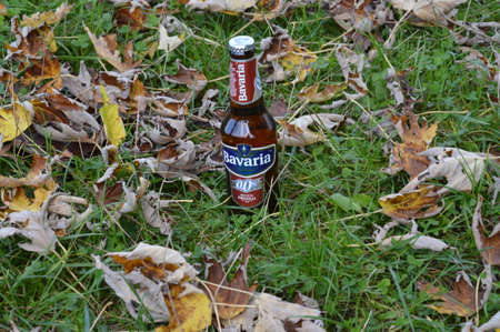 Bottle of non alcoholic beer in nature is Bavaria beer  of Holland Editorial