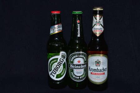 non alcoholic beverage: Illustrative bottle beer of a black backgrounds