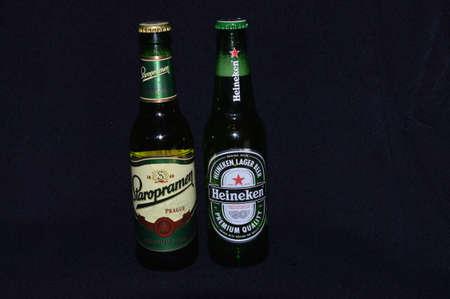 Illustrative bottle beer of a black backgrounds