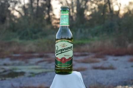 llustrative  bottle beer Staropramen  in nature