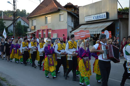 10 Nternational festival folklore  on Lukavac,Bosnia 9.7.2016 year.This parade of folklore group Editorial