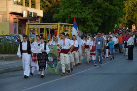 folklore: 10 International festival folklore  on Lukavac,Bosnia 9.7.2016 year.This parade of folklore group Editorial