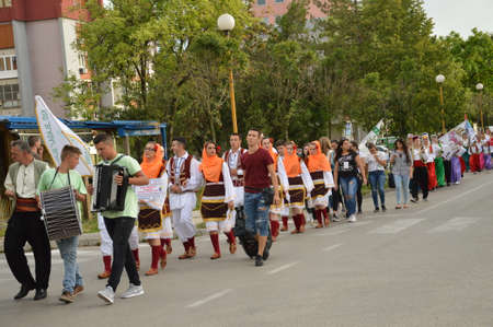Defiles participants of 11 international folklore festivals on the street Lukavac, Participants from Serbia, Croatia and Bosnia and Herzegovina