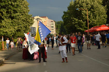 Defiles partticipants of 11 th International folklore festivals in the street Lukavac 1.July 2017 years.bosnia and Herzegovina.Participants from the state Bosnia and Herzegovina,Serbia and Croatia
