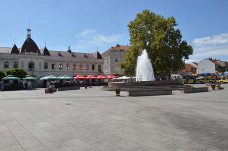 The quare of freedom in the city Tuzla, with fountain