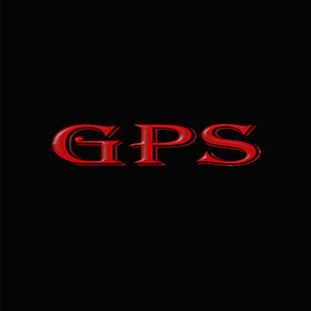 sign and symbol   GPS on black background.The GPS symbol indicates the tracing of an item a lost mobile phone,a person in nature,a se across the satellite and search street. Banco de Imagens