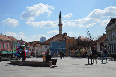 The spring sun pulled the citizens of Tuzla to walk in the Square of Freedom.City Tuzla on Bosnia and Herzegovina