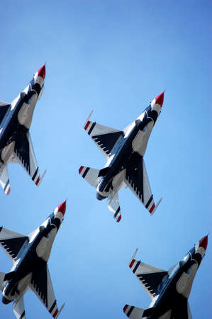 united states air force: Close crop of jets at show. Stock Photo