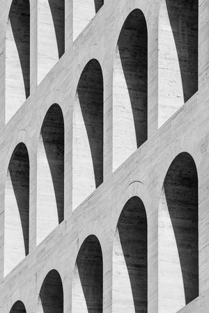 supposed: Architectural detail of the Palace of Civilisation, one of the symbols of the EUR district of Rome. During the Universal Exposition of 1942 - never took place for the world war -, was supposed to host the exhibition of Italian Civilisation, from which the