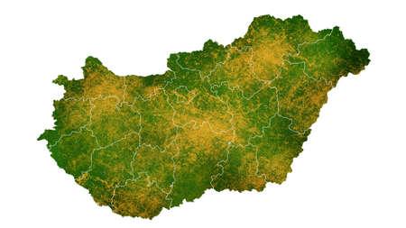 헝가리지도 국가 별 장소, 여행, 질감 및 배경에 대한 상세한 시각화 스톡 콘텐츠