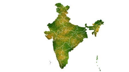 India kaart gedetailleerde visualisatie voor land plaats, reizen, textuur en achtergrond Stockfoto
