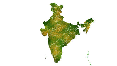 India map detailed visualization for country place,travel,texture and background Фото со стока