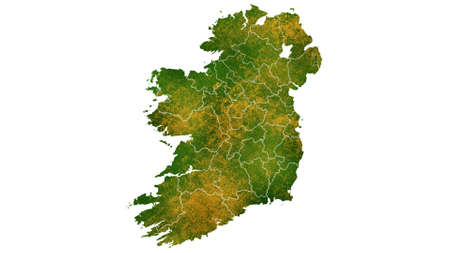 Ireland map detailed visualization for country place,travel,texture and background Фото со стока