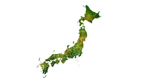 Japan map detailed visualization for country place,travel,texture and background Фото со стока