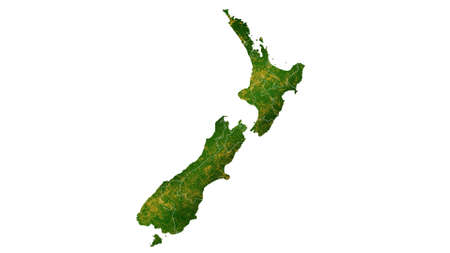 New Zealand map detailed visualization for country place,travel,texture and background